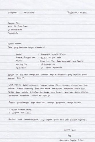 Tulis Tangan Sederhana Contoh Surat Lamaran Kerja Download Contoh Lengkap Gratis